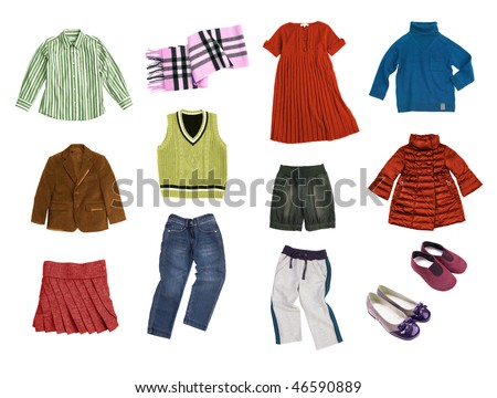 kids clothes set isolated on white