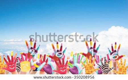 Kids colorful hands forming number 2016. Isolated on white background. The symbol of the new year - stock photo