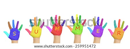 "Kids colorful hands forming word ""summer"". Isolated on white background. Summer holidays concept - stock photo"