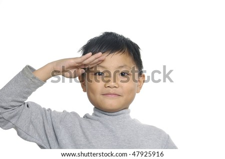 kids doing a military - stock photo