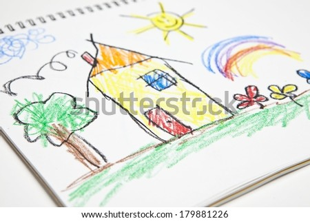 Kids Drawing - stock photo
