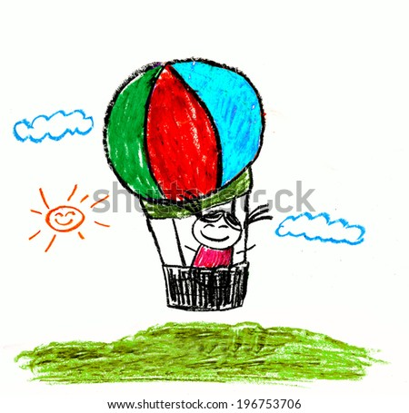 Kids drawing balloon - stock photo