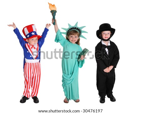 Kids dressed up like American characters - stock photo