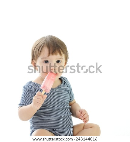 Kids eating ice-cream - stock photo