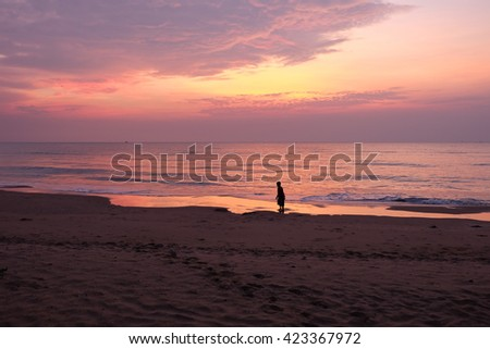 kids enjoy on morning beach in holiday - stock photo