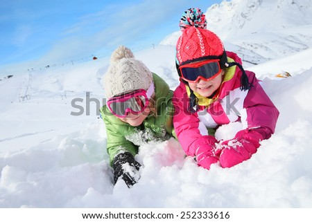 Kids enjoying snow vacation