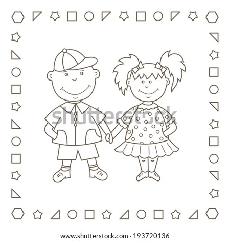 Kids. Girl and boy. Friends. Pair. Coloring page. Coloring book. - stock photo