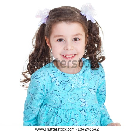 Kids,girl,kid,child- Portrait of a charming little girl with beautiful long braid on white background - stock photo