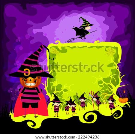 kids halloween magical frame - stock photo