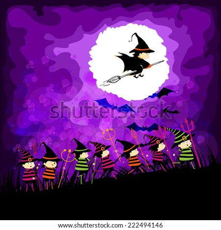 kids halloween party under the moon - stock photo