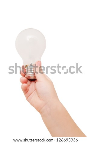 Kids hand holding light bulb. The idea concept. Isolated on white background.
