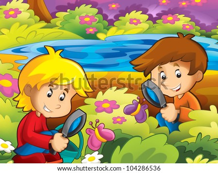 Kids happy in the park - stock photo