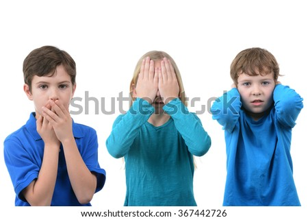 kids having fun with hands symbols isolated white background - stock photo