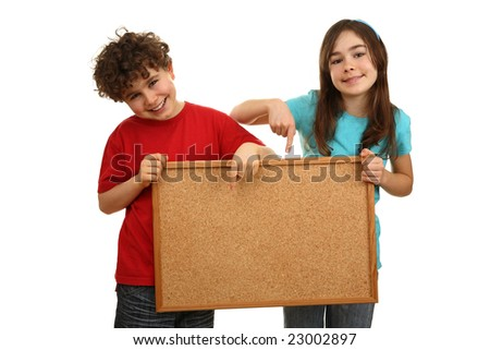 Kids holding noticeboard isolated on white