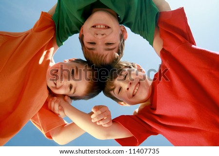 Kids Huddling - stock photo