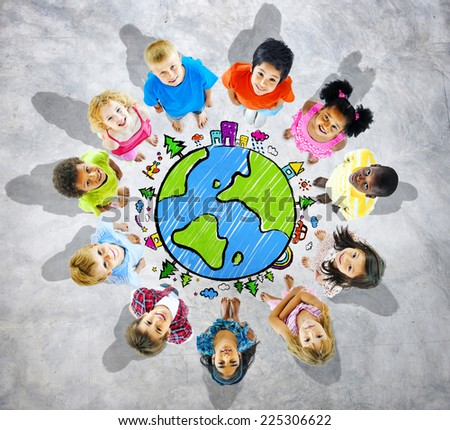 Kids is circle with globe - stock photo