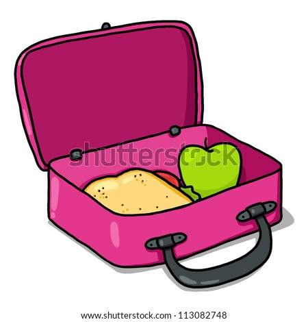 Kids Lunch Box Illustration Pink Open Lunchbox Drawing