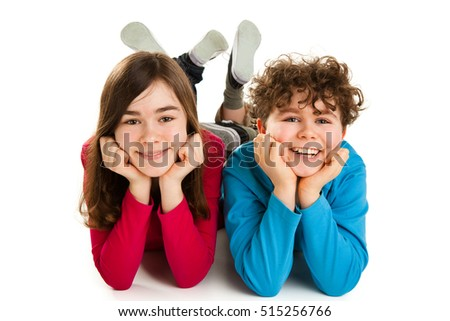 Kids lying on white background