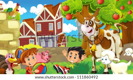Kids on the farm - illustration for the children 1