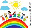 Kids over the rainbow - stock photo