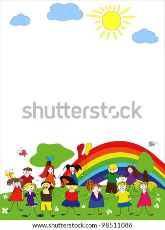 kids playing,  child's drawing style - stock photo