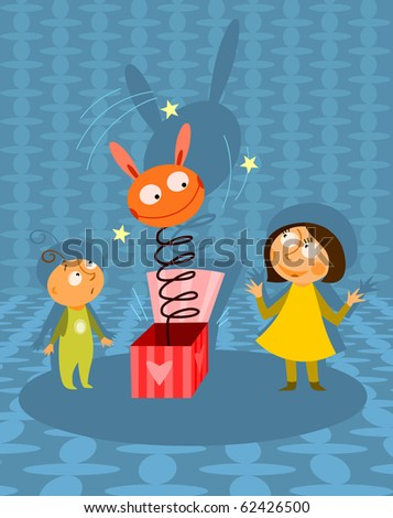Kids playing with jack-in-the-box toy - raster version - stock photo