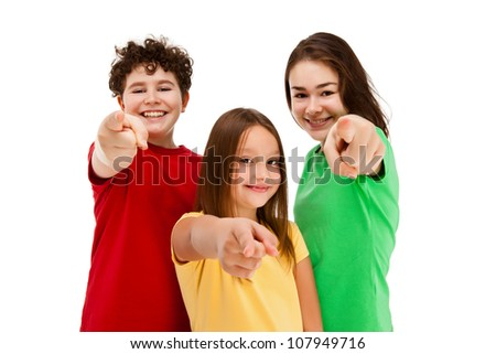 Kids pointing isolated on white background - stock photo