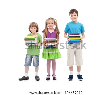 Kids prepared for school - holding colorful books stacks, isolated - stock photo