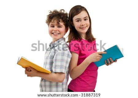 Kids reading books isolated on white background - stock photo