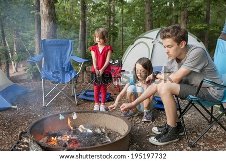 kids roasting marshmallows while camping in forest - stock photo