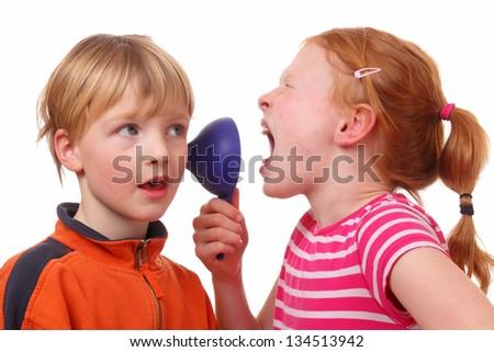 Kids shouting through a cone on white background - stock photo