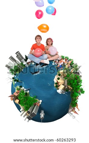 Kids sitting on top of a happy Earth throwing balloons - stock photo