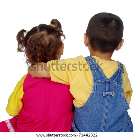 kids sitting side by side, boy with arm around girl, isolated on pure white background - stock photo