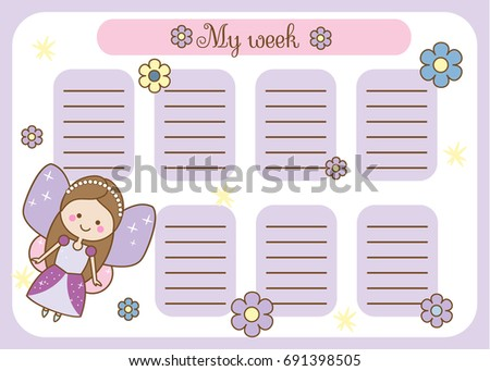 Kids timetable cute fairy character weekly stock for Time design planner