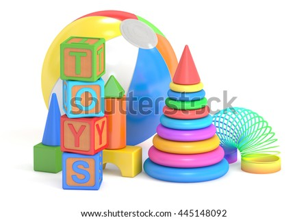 Kids toys concept, 3D rendering isolated on white background - stock photo