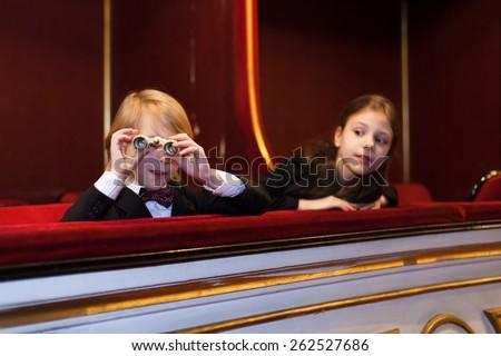 kids watching opera - stock photo