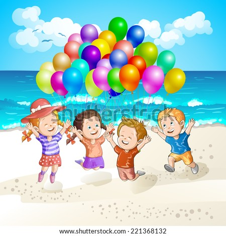 Kids with balloons at the beach - stock photo