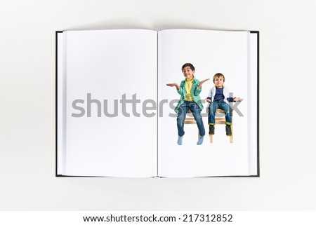 Kids with doubts printed on book - stock photo