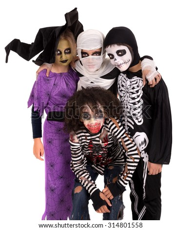 Kids with face-paint and Halloween costumes isolated in white  sc 1 st  Shutterstock & Kids Facepaint Halloween Costumes Isolated White Stock Photo ...