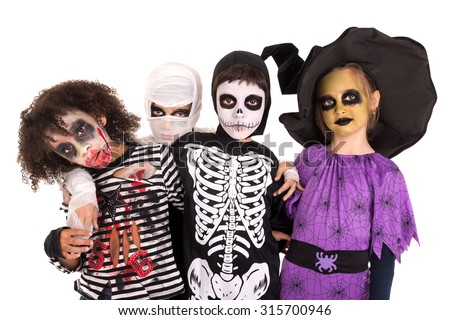 Kids with face-paint and Halloween costumes isolated in white - stock photo
