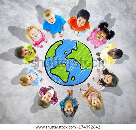 Kids with Globe on Grey Background - stock photo