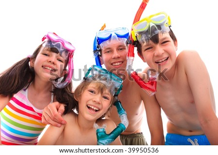Kids with masks and snorkels