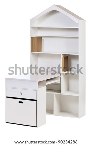 Kids wooden workstation (desk and bookcase), with clipping path - stock photo