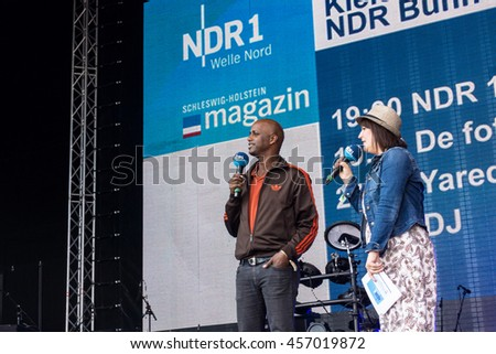 Kiel, Germany - June 22nd 2016:  Jared Dibiba in an Interview on the NDR Stage  during  the fifth Day of the Kieler Woche 2016