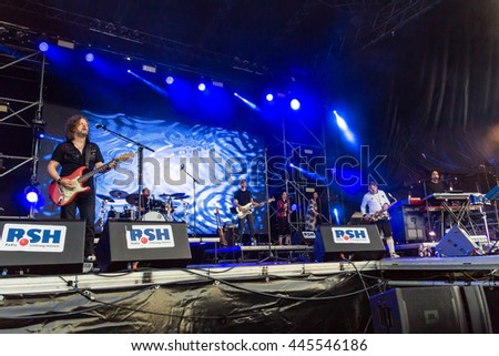 Kiel, Germany - June 21st 2016: Lotto King Karl & The Barmbek Dream Boys perfom on the Hoern Stage during the Kieler Woche 2016