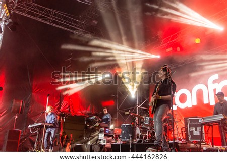 "Kiel, Germany - June 25th 2016: The Band ""Stanfour"" performs on the Hoern Stage during the Kieler Woche 2016"