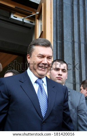 KIEV - APRIL 3: Fourth President of Ukraine Viktor Yanukovych during a rally at the Cabinet of Ministers of Ukraine , Viktor Yushchenko, April 3, 2007 in Kiev , Ukraine.
