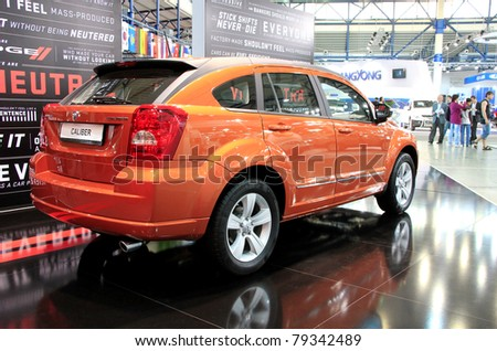 "KIEV - MAY 26: Dodge Caliber at yearly automotive-show ""SIA 2011"". May 26, 2011 in Kiev, Ukraine."