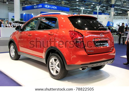 "KIEV - MAY 26: Ssang Yong Korando at yearly automotive-show ""SIA 2011"". May 26, 2011 in Kiev, Ukraine."
