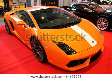 "KIEV - OCTOBER 29: Yearly automotive-show ""Retro & Exotica Motor Show"". October 29, 2010 in Kiev, Ukraine. Lamborghini Gallardo - stock photo"